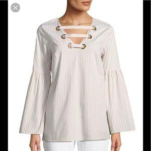 Michael Kors Striped Bell Sleeve Tunic Top